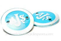 Tank Badges, AJS, Blue/Silver