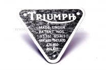 Patent Plate, Triumph Twins, 70-4016, UK Made